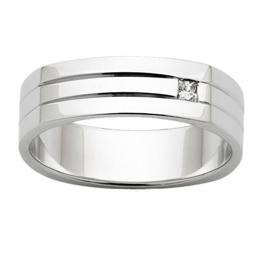 flat round wedding ring with diamond - Flat Wedding Rings