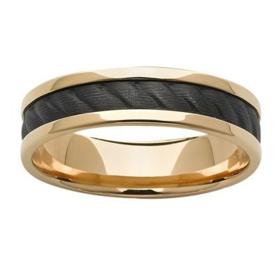 Gold Ring with Black Zircon Rope Inlay