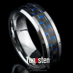 Blue Carbon Fiber Tungsten Ring