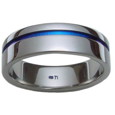 titanium-rings, mens-wedding-rings, all-mens-rings - Polished Titanium Ring with Blue Groove